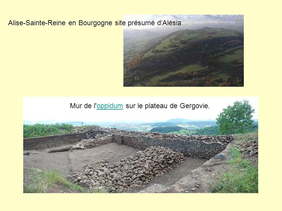 Alise-Sainte-Reine en Bourgogne site présumé dAlésia Mur de l'oppidum sur le plateau de Gergovie.oppidum