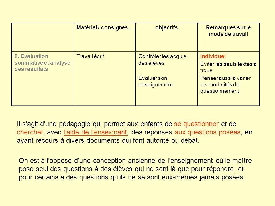 Matériel / consignes…objectifsRemarques sur le mode de travail 8. Evaluation sommative et analyse des résultats Travail écritContrôler les acquis des