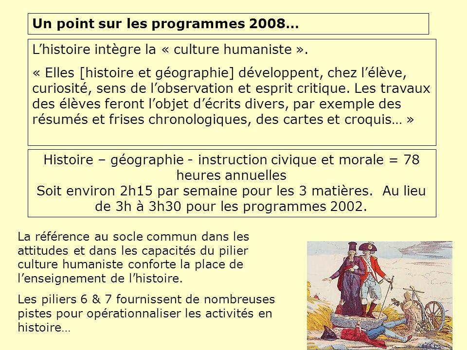 Un point sur les programmes 2008… Lhistoire intègre la « culture humaniste ». « Elles [histoire et géographie] développent, chez lélève, curiosité, se