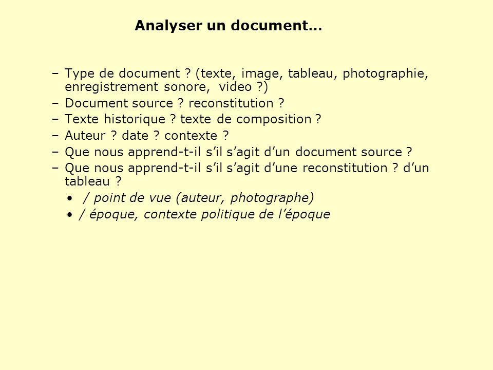 Analyser un document… –Type de document ? (texte, image, tableau, photographie, enregistrement sonore, video ?) –Document source ? reconstitution ? –T