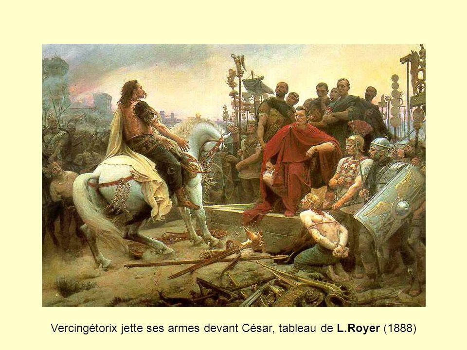 Vercingétorix jette ses armes devant César, tableau de L.Royer (1888)