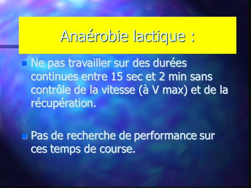 Anaérobie lactique : Ne pas travailler sur des durées continues entre 15 sec et 2 min sans contrôle de la vitesse (à V max) et de la récupération. Ne