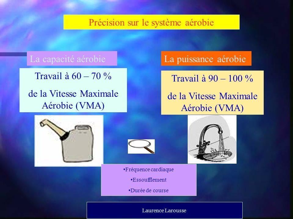 Précision sur le système aérobie La capacité aérobieLa puissance aérobie Travail à 60 – 70 % de la Vitesse Maximale Aérobie (VMA) Travail à 90 – 100 %