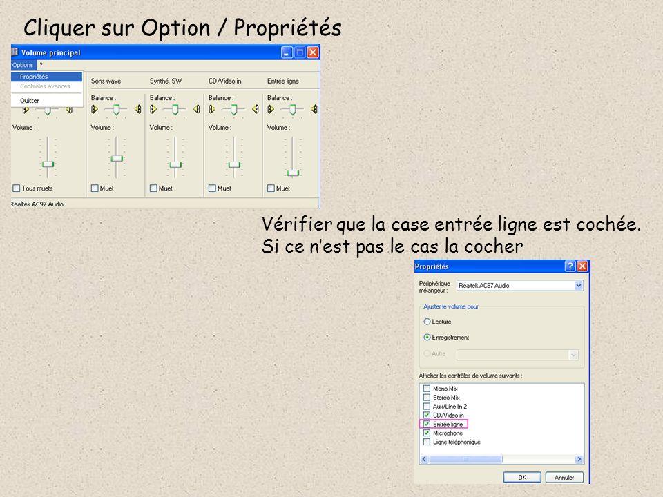 Cliquer sur Option / Propriétés Vérifier que la case entrée ligne est cochée. Si ce nest pas le cas la cocher