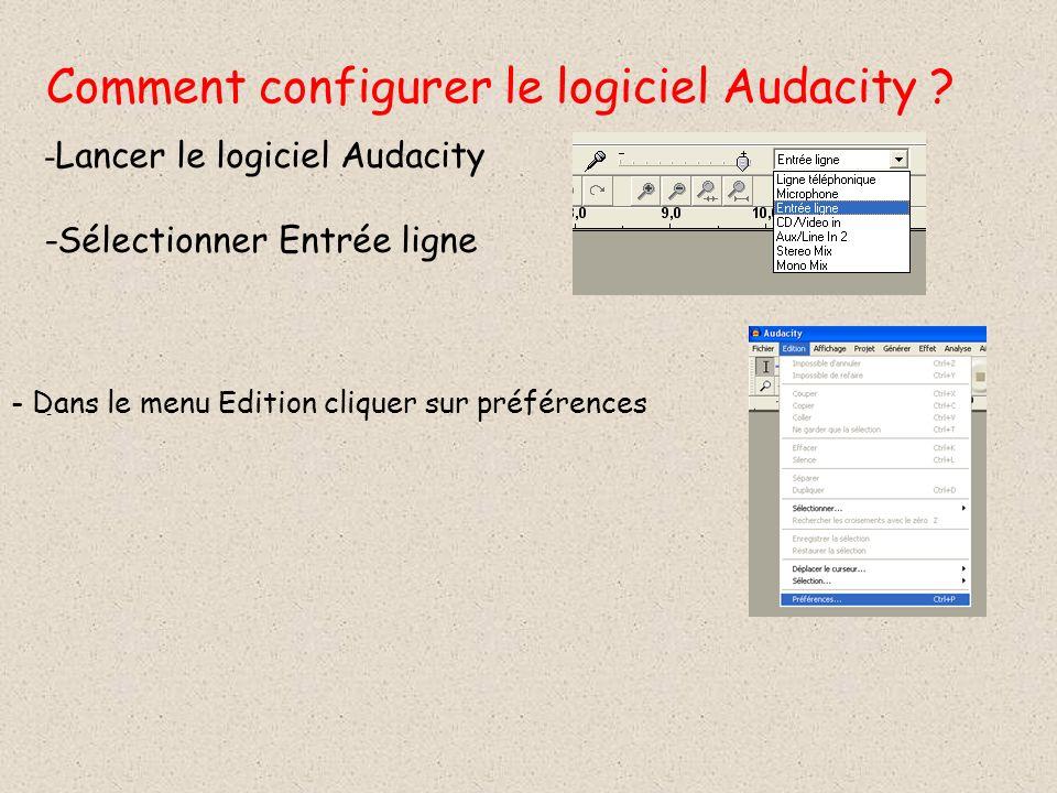 Comment configurer le logiciel Audacity ? - - Lancer le logiciel Audacity -Sélectionner Entrée ligne - Dans le menu Edition cliquer sur préférences
