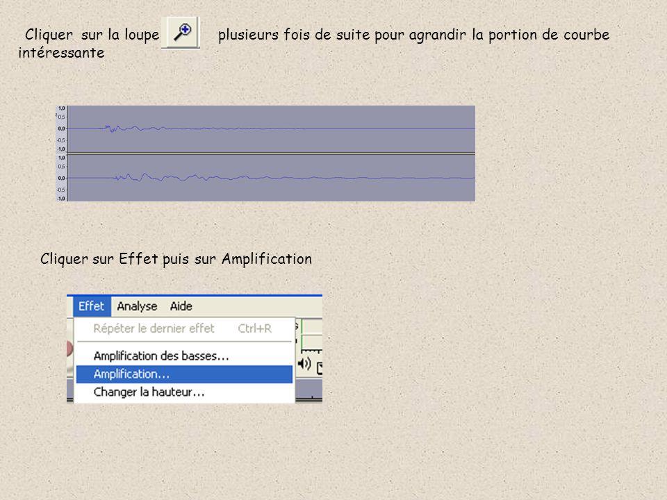 Cliquer sur la loupe plusieurs fois de suite pour agrandir la portion de courbe intéressante Cliquer sur Effet puis sur Amplification