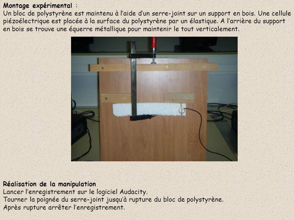 Montage expérimental : Un bloc de polystyrène est maintenu à laide dun serre-joint sur un support en bois. Une cellule piézoélectrique est placée à la