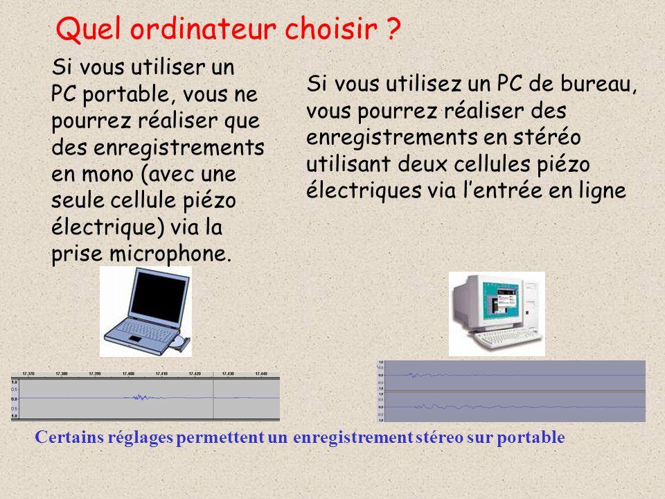 Si vous utiliser un PC portable, vous ne pourrez réaliser que des enregistrements en mono (avec une seule cellule piézo électrique) via la prise microphone.