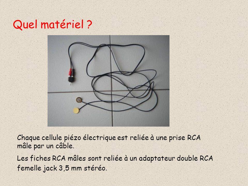 Quel matériel .Chaque cellule piézo électrique est reliée à une prise RCA mâle par un câble.