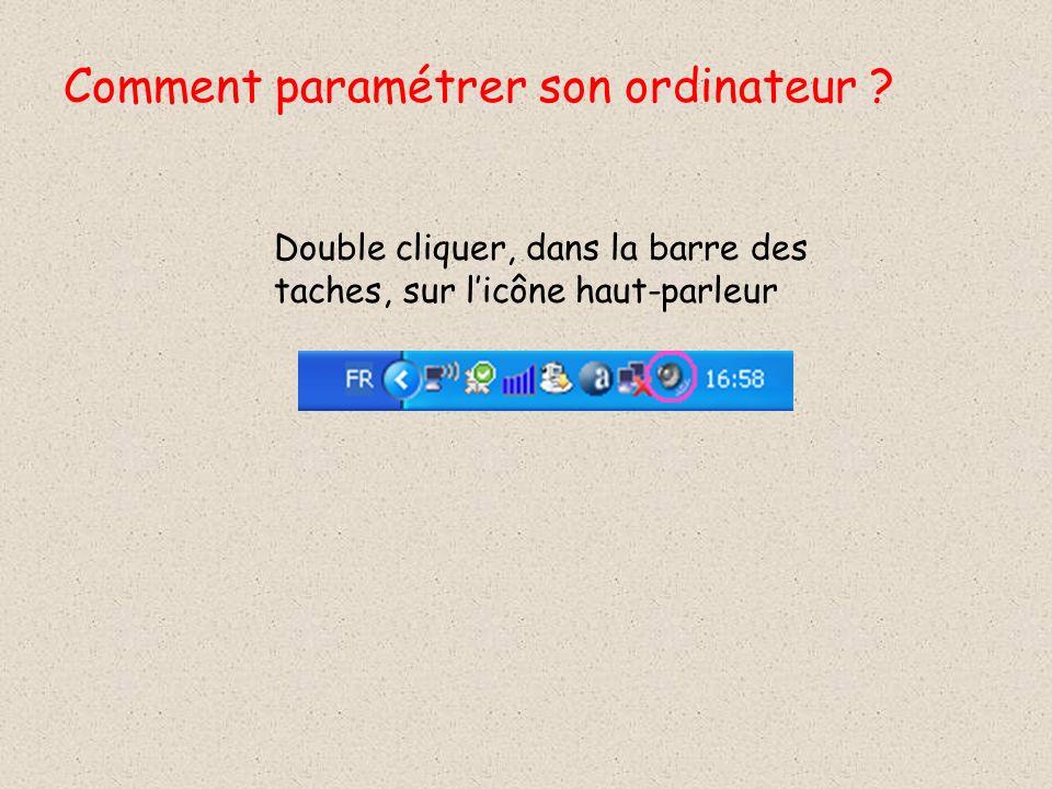 Double cliquer, dans la barre des taches, sur licône haut-parleur Comment paramétrer son ordinateur ?