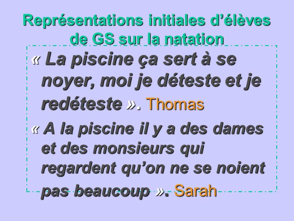 Représentations initiales délèves de GS sur la natation « La piscine ça sert à se noyer, moi je déteste et je redéteste ». Thomas « A la piscine il y