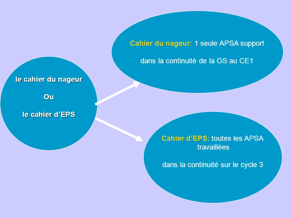 le cahier du nageur Ou le cahier dEPS Cahier du nageur: 1 seule APSA support dans la continuité de la GS au CE1 Cahier dEPS: toutes les APSA travaillées dans la continuité sur le cycle 3