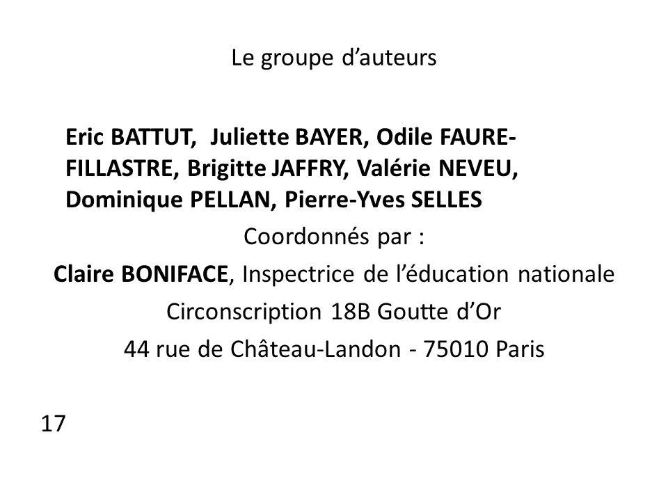 Le groupe dauteurs Eric BATTUT, Juliette BAYER, Odile FAURE- FILLASTRE, Brigitte JAFFRY, Valérie NEVEU, Dominique PELLAN, Pierre-Yves SELLES Coordonné