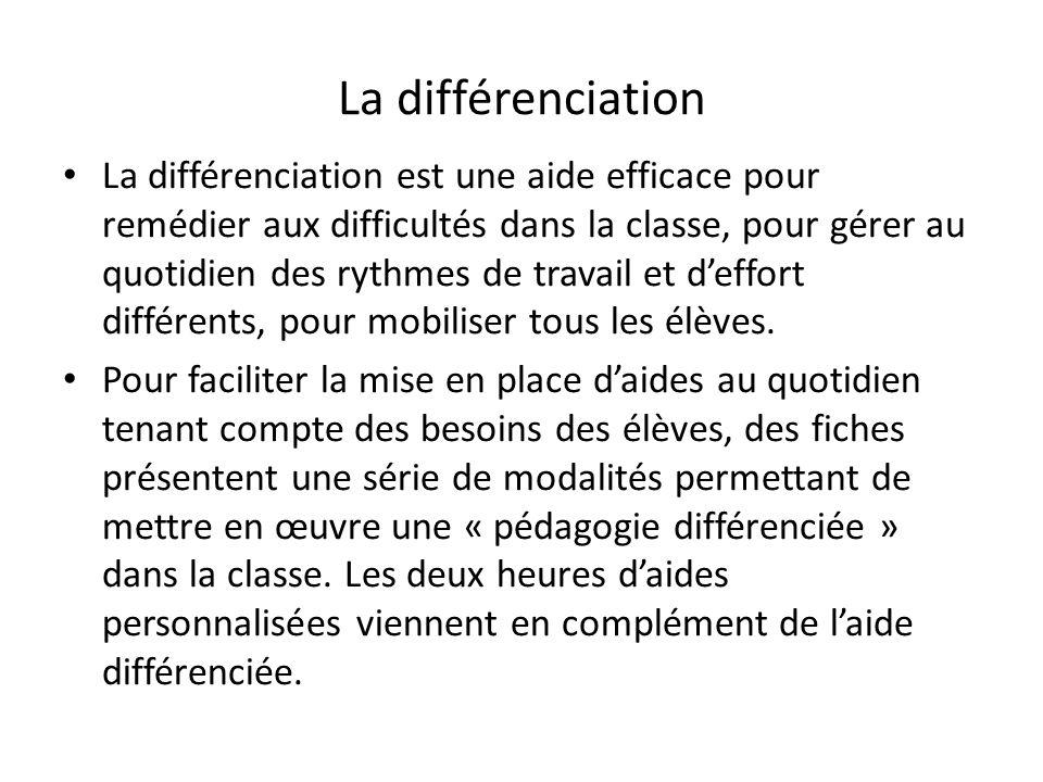 La différenciation La différenciation est une aide efficace pour remédier aux difficultés dans la classe, pour gérer au quotidien des rythmes de trava