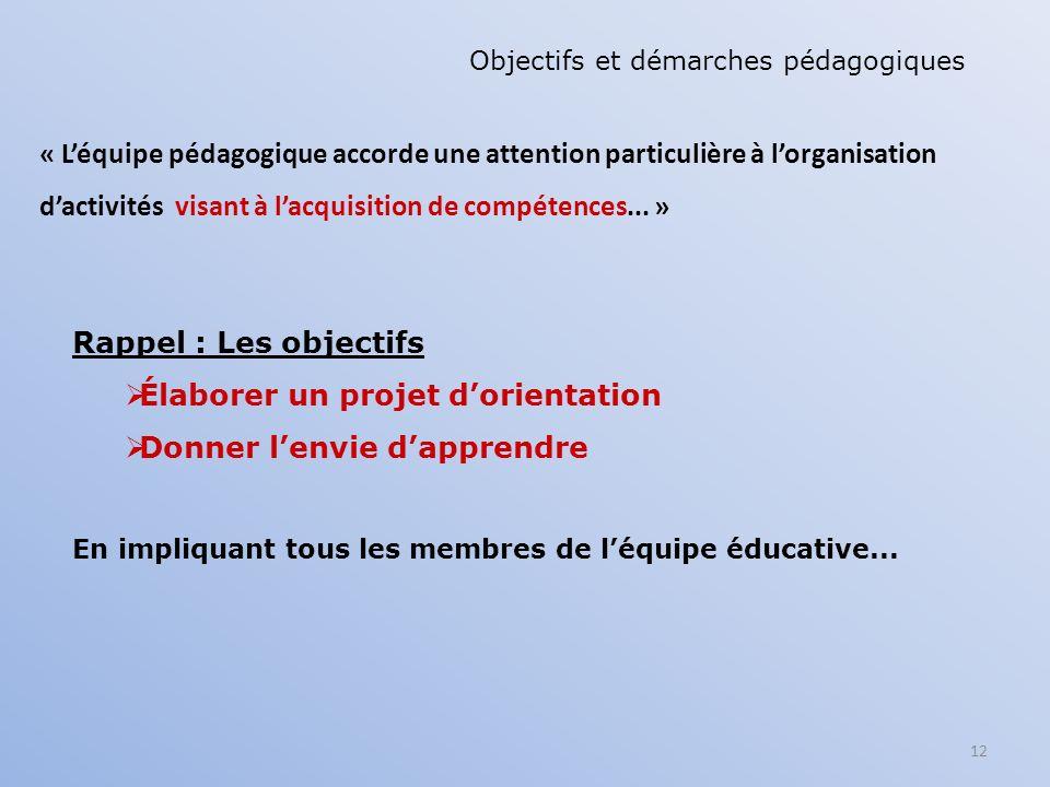 12 « Léquipe pédagogique accorde une attention particulière à lorganisation dactivités visant à lacquisition de compétences... » Objectifs et démarche