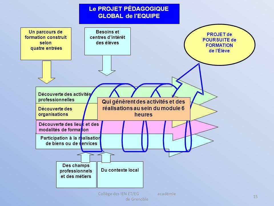 Collège des IEN ET/EG académie de Grenoble 15 Participation à la réalisation de biens ou de services Découverte des activités professionnelles Découve
