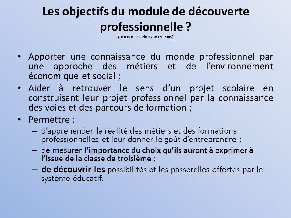 Les objectifs du module de découverte professionnelle ? (BOEN n ° 11 du 17 mars 2005) Apporter une connaissance du monde professionnel par une approch