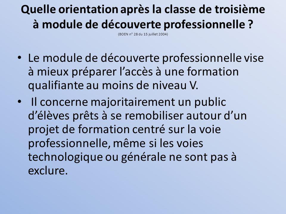 Quelle orientation après la classe de troisième à module de découverte professionnelle ? (BOEN n° 28 du 15 juillet 2004) Le module de découverte profe