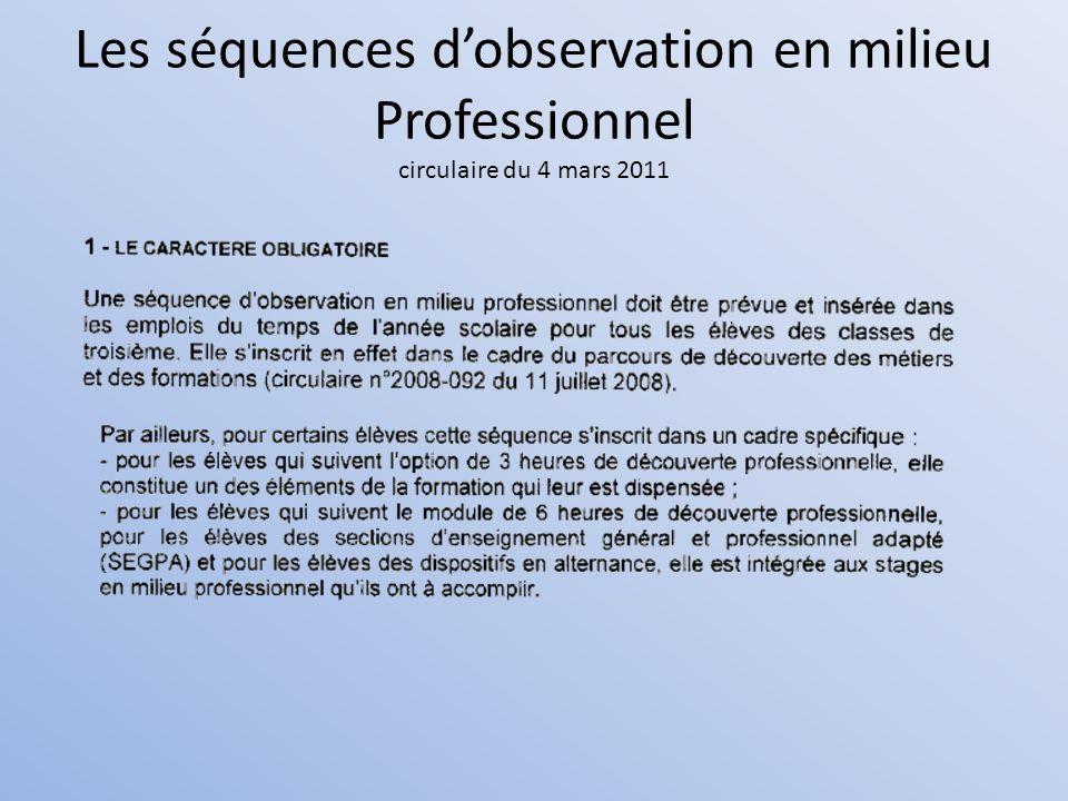 Les séquences dobservation en milieu Professionnel circulaire du 4 mars 2011
