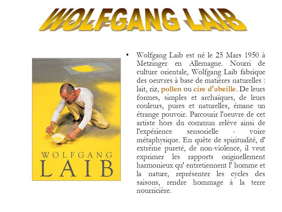 Wolfgang Laib est né le 25 Mars 1950 à Metzinger en Allemagne. Nourri de culture orientale, Wolfgang Laib fabrique des oeuvres à base de matières natu