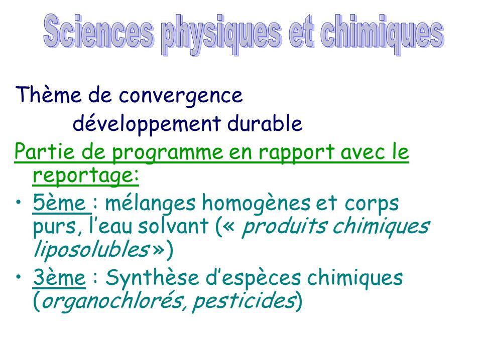 Thème de convergence développement durable Partie de programme en rapport avec le reportage: 5ème : mélanges homogènes et corps purs, leau solvant («