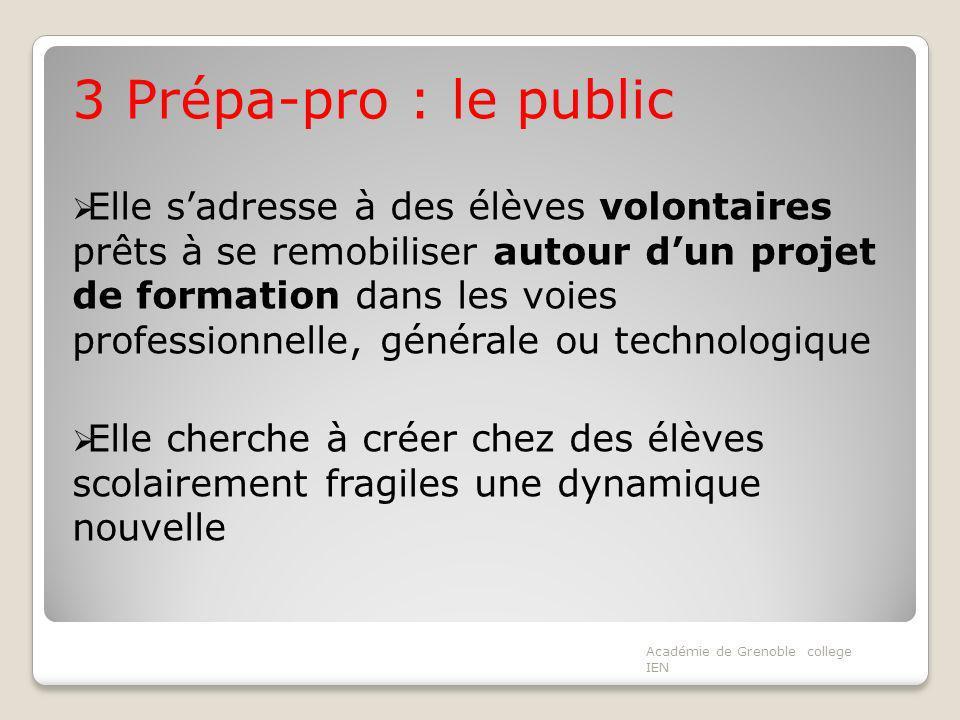 3 Prépa-pro : le public Elle sadresse à des élèves volontaires prêts à se remobiliser autour dun projet de formation dans les voies professionnelle, g