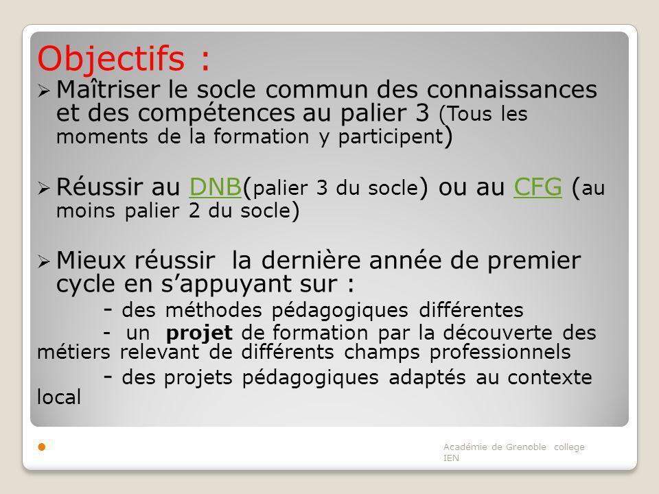 Objectifs : Maîtriser le socle commun des connaissances et des compétences au palier 3 (Tous les moments de la formation y participent ) Réussir au DN