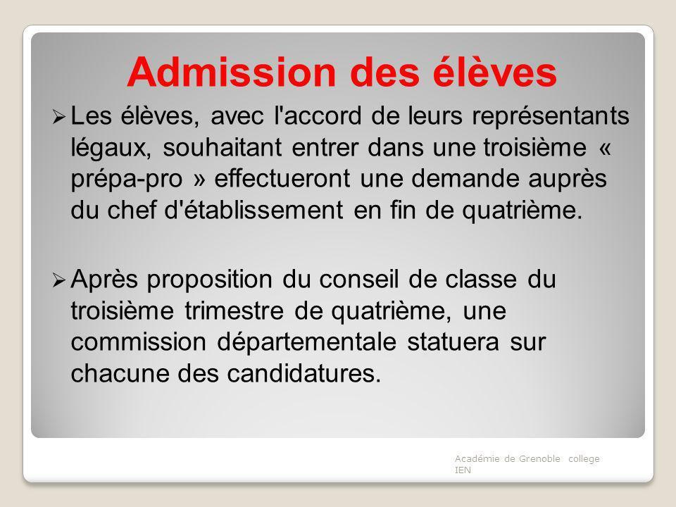 Admission des élèves Les élèves, avec l'accord de leurs représentants légaux, souhaitant entrer dans une troisième « prépa-pro » effectueront une dema