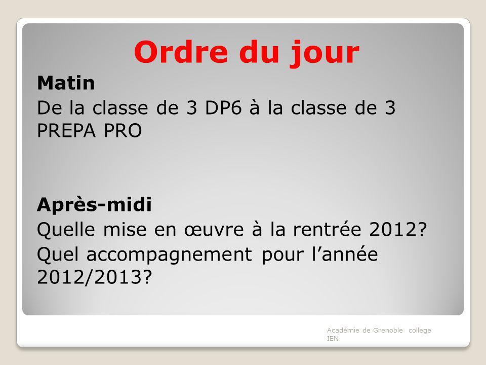 Ordre du jour Matin De la classe de 3 DP6 à la classe de 3 PREPA PRO Après-midi Quelle mise en œuvre à la rentrée 2012? Quel accompagnement pour lanné