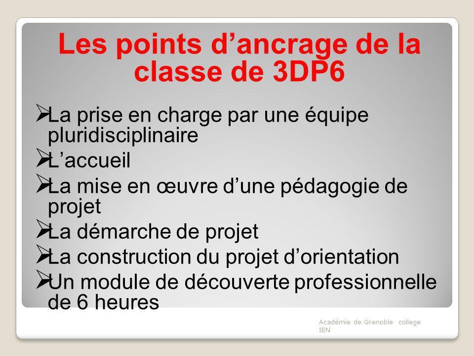 Les points dancrage de la classe de 3DP6 La prise en charge par une équipe pluridisciplinaire Laccueil La mise en œuvre dune pédagogie de projet La dé