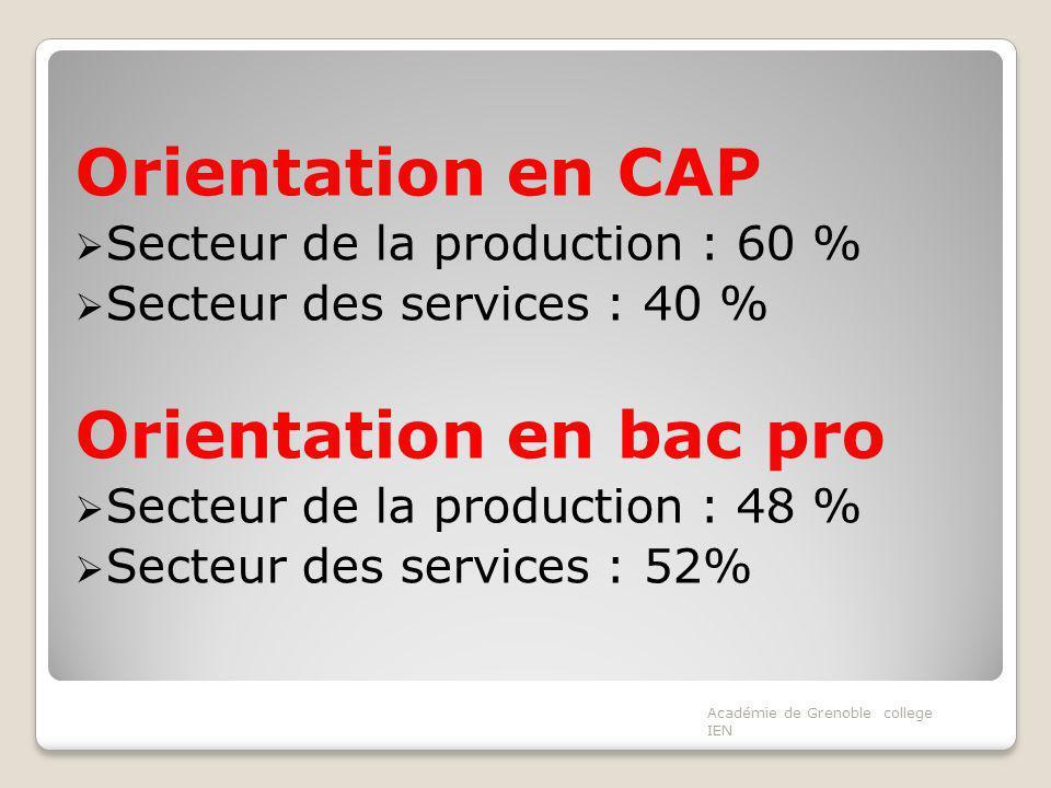Orientation en CAP Secteur de la production : 60 % Secteur des services : 40 % Orientation en bac pro Secteur de la production : 48 % Secteur des services : 52% Académie de Grenoble college IEN