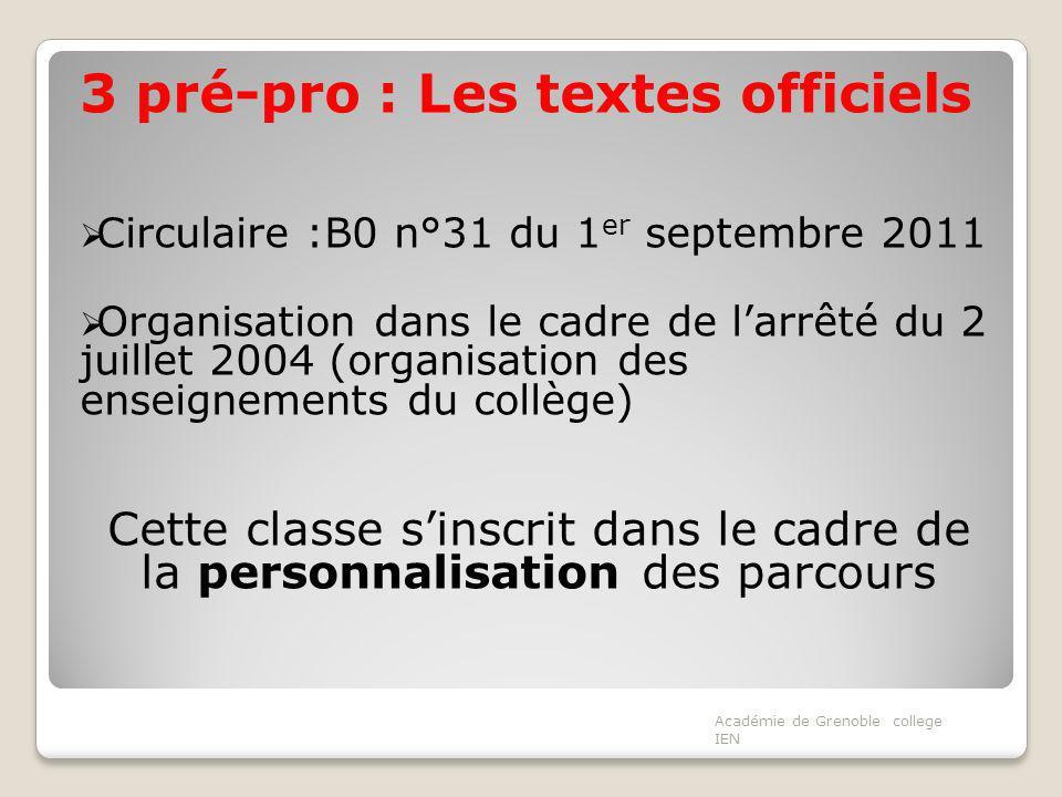 3 pré-pro : Les textes officiels Circulaire :B0 n°31 du 1 er septembre 2011 Organisation dans le cadre de larrêté du 2 juillet 2004 (organisation des enseignements du collège) Cette classe sinscrit dans le cadre de la personnalisation des parcours Académie de Grenoble college IEN