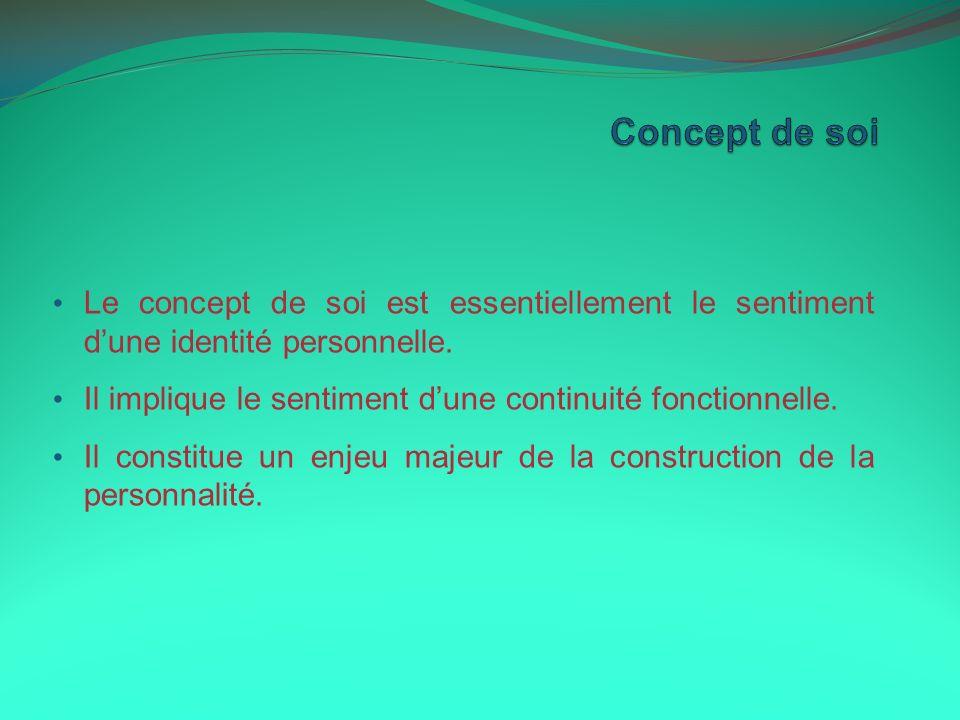 Le concept de soi est essentiellement le sentiment dune identité personnelle. Il implique le sentiment dune continuité fonctionnelle. Il constitue un