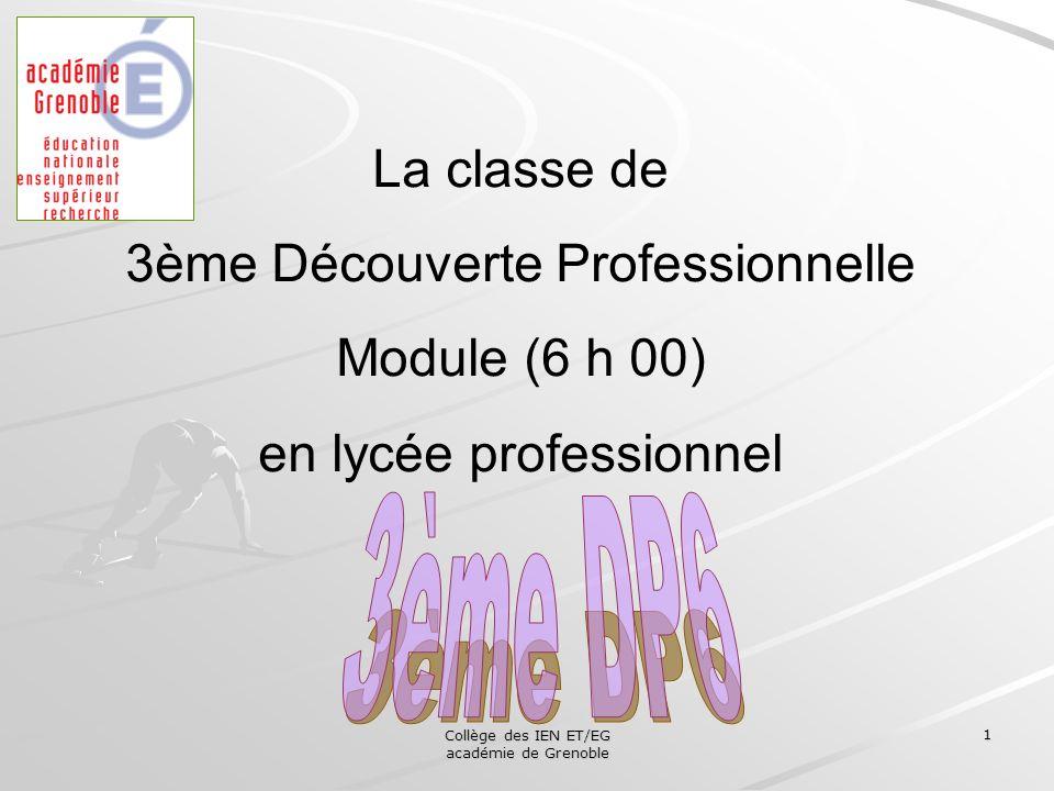 Collège des IEN ET/EG académie de Grenoble 1 La classe de 3ème Découverte Professionnelle Module (6 h 00) en lycée professionnel