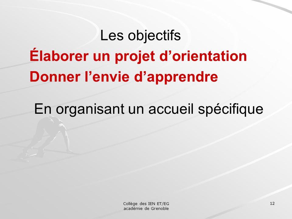 Collège des IEN ET/EG académie de Grenoble 12 Les objectifs Élaborer un projet dorientation Donner lenvie dapprendre En organisant un accueil spécifiq