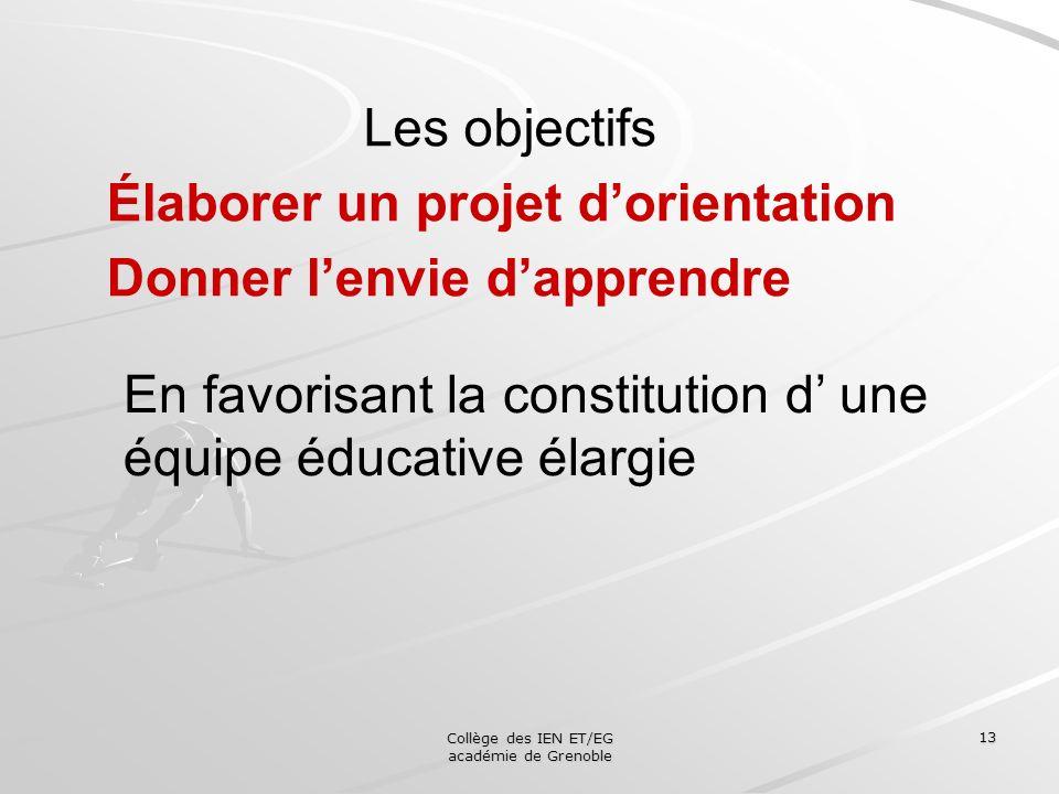 Collège des IEN ET/EG académie de Grenoble 13 Les objectifs Élaborer un projet dorientation Donner lenvie dapprendre En favorisant la constitution d u