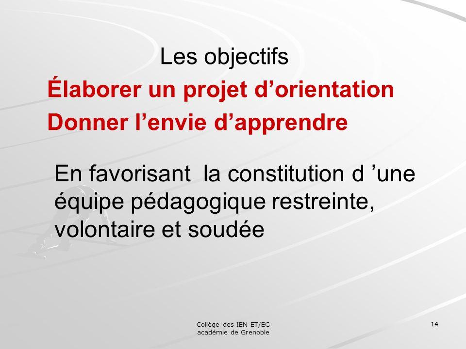 Collège des IEN ET/EG académie de Grenoble 14 Les objectifs Élaborer un projet dorientation Donner lenvie dapprendre En favorisant la constitution d u