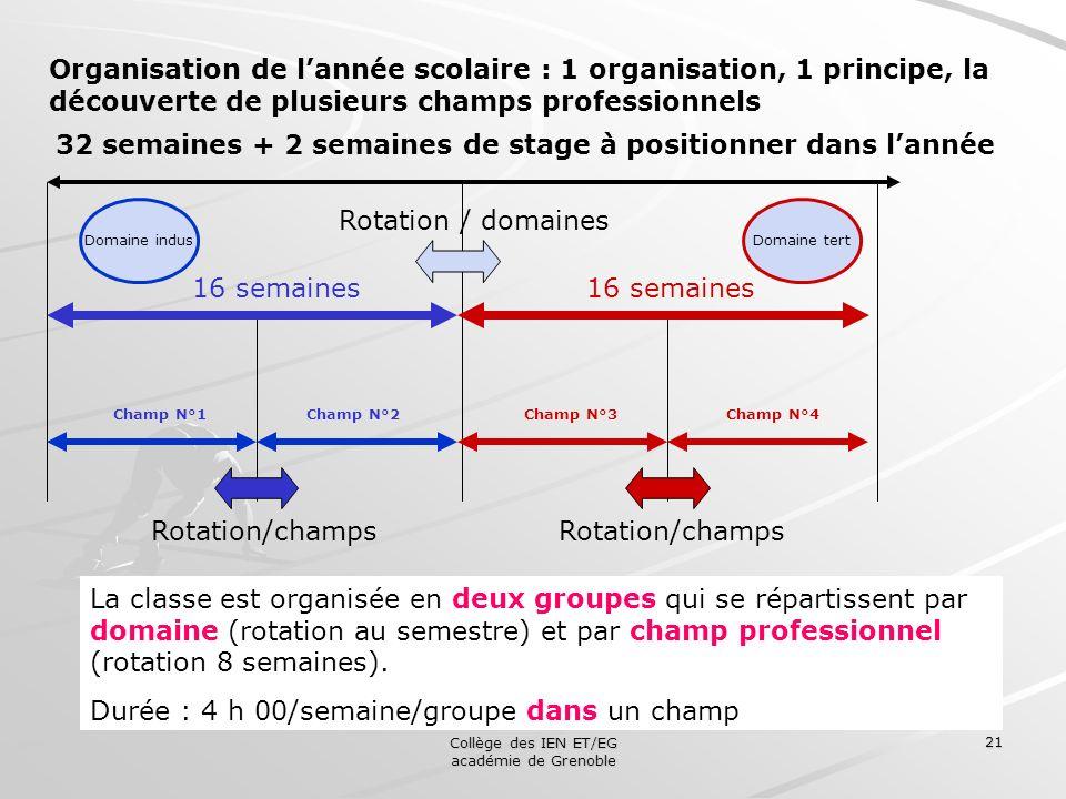 Collège des IEN ET/EG académie de Grenoble 21 Organisation de lannée scolaire : 1 organisation, 1 principe, la découverte de plusieurs champs professi