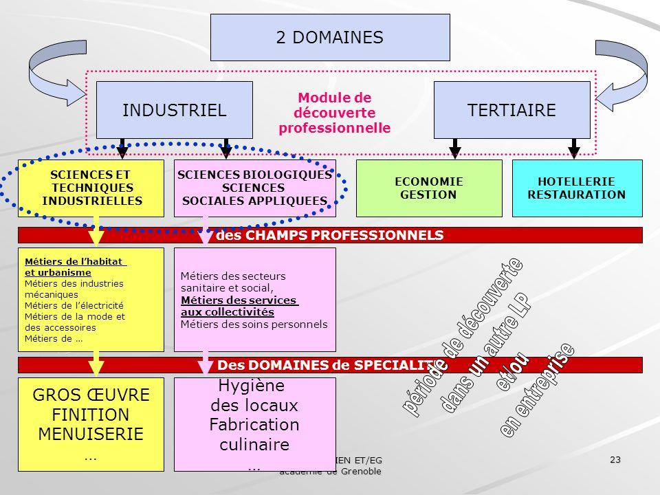 Collège des IEN ET/EG académie de Grenoble 23 2 DOMAINES INDUSTRIELTERTIAIRE SCIENCES ET TECHNIQUES INDUSTRIELLES SCIENCES BIOLOGIQUES SCIENCES SOCIAL