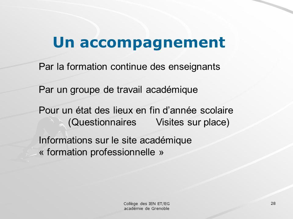 Collège des IEN ET/EG académie de Grenoble 28 Un accompagnement Par la formation continue des enseignants Par un groupe de travail académique Pour un