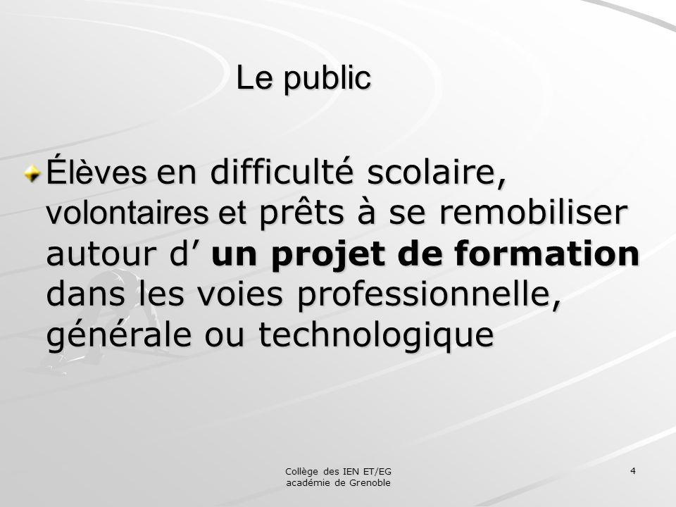 Collège des IEN ET/EG académie de Grenoble 4 Le public Élèves en difficulté scolaire, volontaires et prêts à se remobiliser autour d un projet de form
