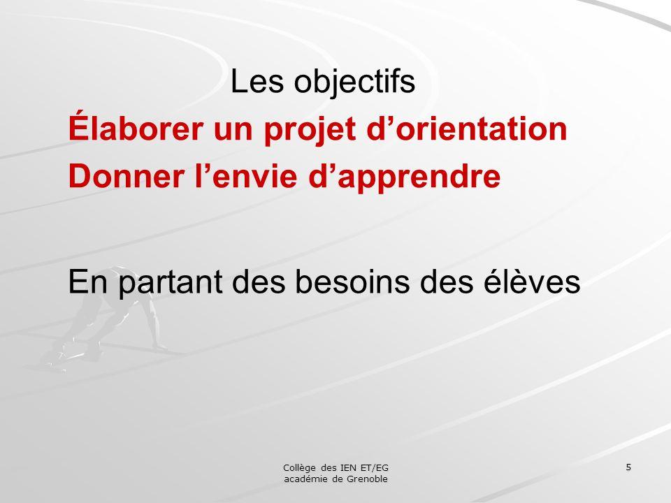 Collège des IEN ET/EG académie de Grenoble 5 Les objectifs Élaborer un projet dorientation Donner lenvie dapprendre En partant des besoins des élèves