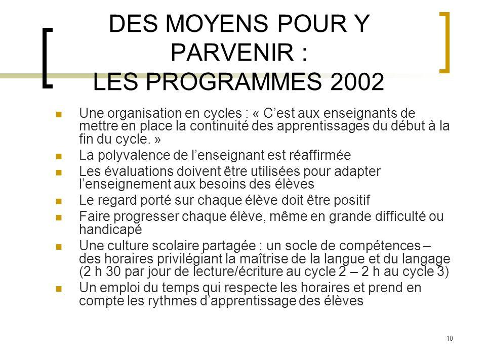 10 DES MOYENS POUR Y PARVENIR : LES PROGRAMMES 2002 Une organisation en cycles : « Cest aux enseignants de mettre en place la continuité des apprentis