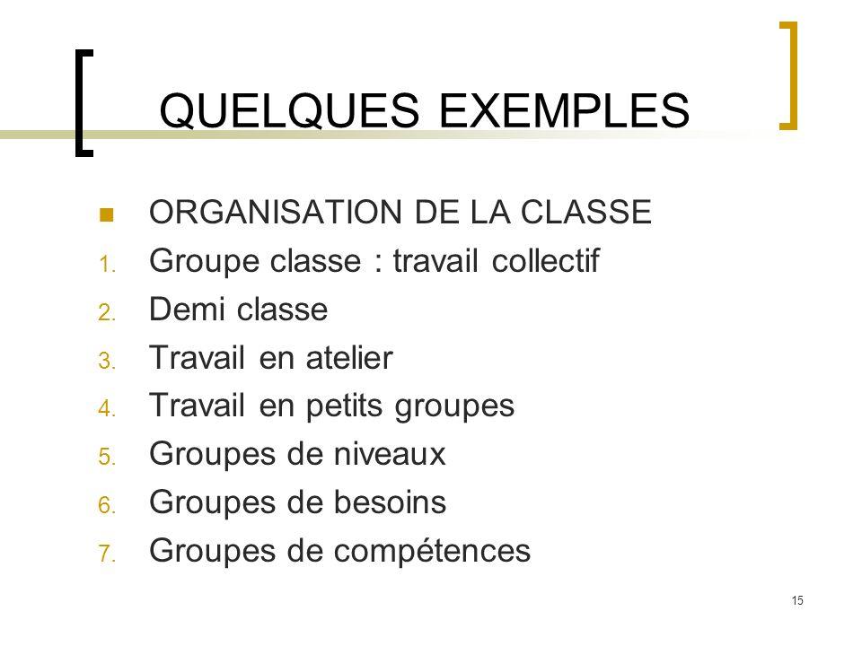 15 QUELQUES EXEMPLES ORGANISATION DE LA CLASSE 1. Groupe classe : travail collectif 2. Demi classe 3. Travail en atelier 4. Travail en petits groupes