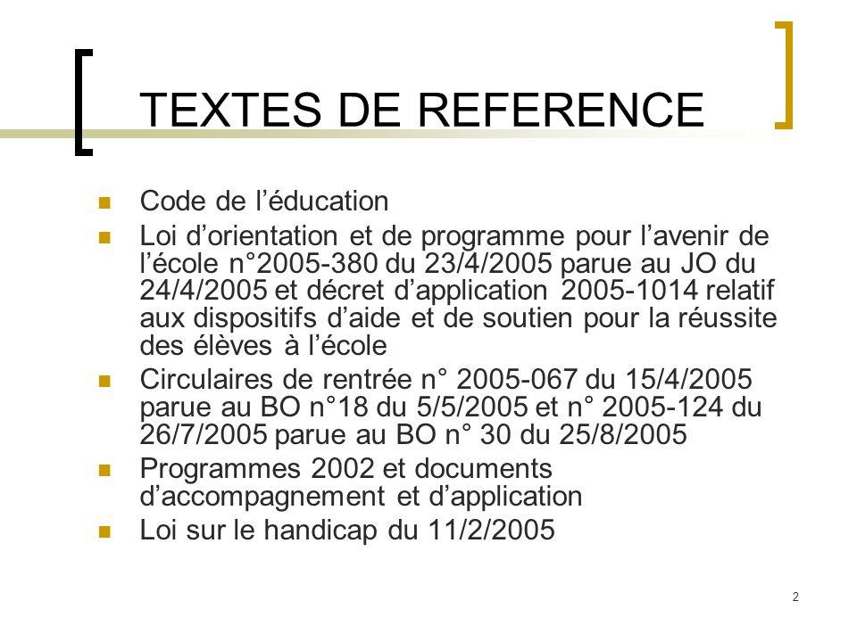 2 TEXTES DE REFERENCE Code de léducation Loi dorientation et de programme pour lavenir de lécole n°2005-380 du 23/4/2005 parue au JO du 24/4/2005 et d