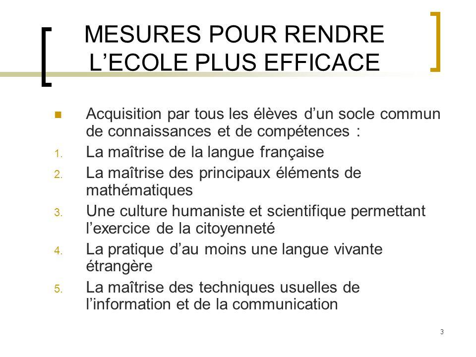 3 MESURES POUR RENDRE LECOLE PLUS EFFICACE Acquisition par tous les élèves dun socle commun de connaissances et de compétences : 1. La maîtrise de la