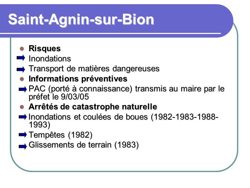 Saint-Agnin-sur-Bion Risques RisquesInondations Transport de matières dangereuses Informations préventives Informations préventives PAC (porté à conna