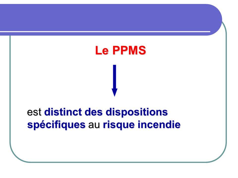 Le PPMS est distinct des dispositions spécifiques au risque incendie est distinct des dispositions spécifiques au risque incendie