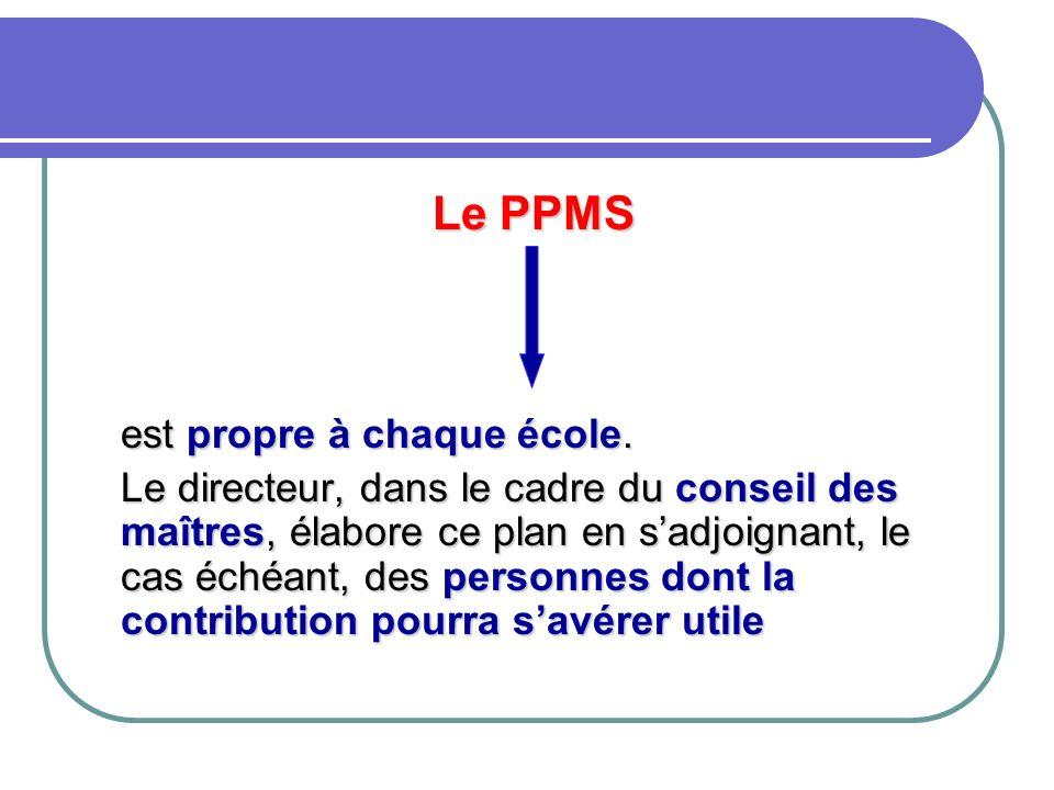 Le PPMS est propre à chaque école. Le directeur, dans le cadre du conseil des maîtres, élabore ce plan en sadjoignant, le cas échéant, des personnes d