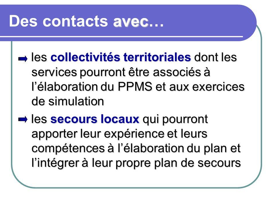 avec Des contacts avec… les collectivités territoriales dont les services pourront être associés à lélaboration du PPMS et aux exercices de simulation